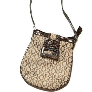 Guess Womens Hilda Mini Mongram Purse Bag Shoulder